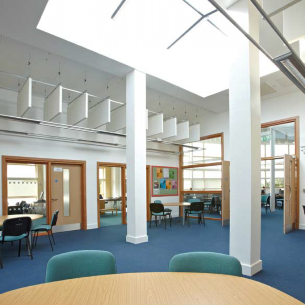 Reepham Sixth Form College - Internal break out space - naturally ventillated with automated  vents to achieve correct C02 and temp levels