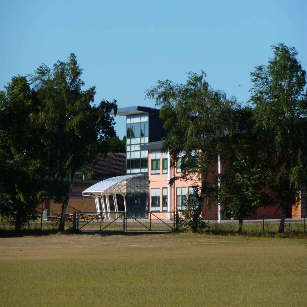 View across new playing fields to New Reepham Sixth Form College