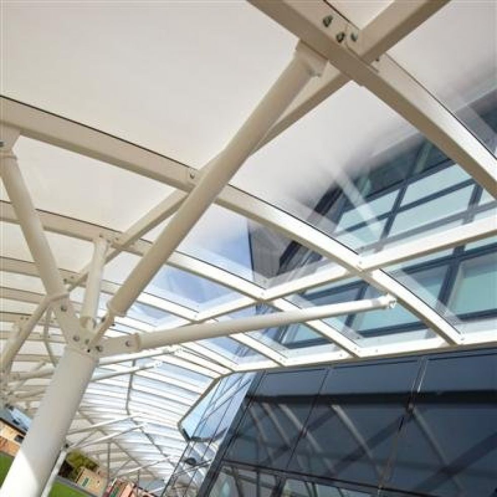 Reepham Sixth Form College - detail of fritted shading canopy