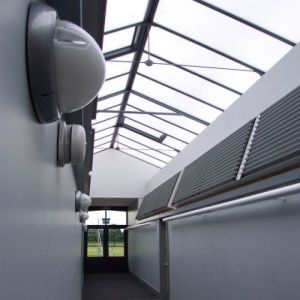 2005 - Reepham High School and College Science Block Corridor: showing natural lighting and ventilation. Corridor also supplies 'borrowed' natural lighting and cross ventilation to laboratories